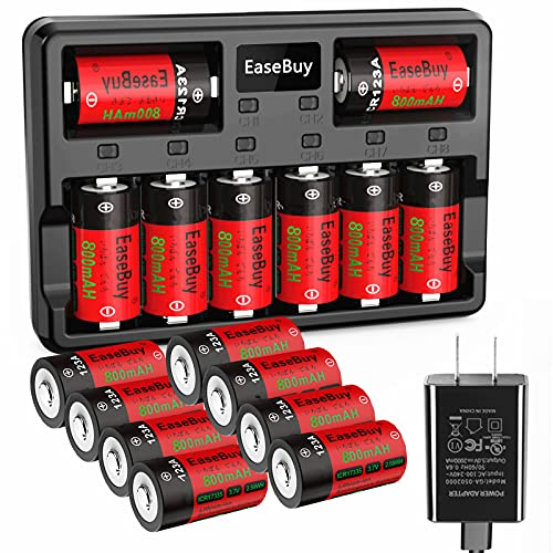 Arlo Batteries Rechargeable, EaseBuy 16 Pack 800mAH 123A Arlo Batteries and Charger for Arlo VMS3130 VMC3030 VMK3200 VMS3330 3430 3530 Cameras, Alarm System, Flashlight