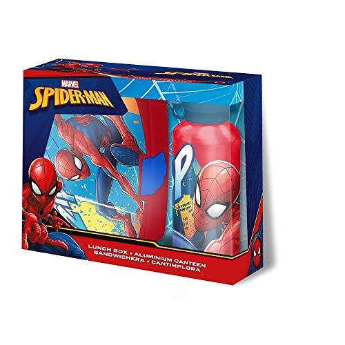 Set de 2 pièces petit-déjeuner pour enfants, boîte à sandwich/boîte à sandwich / boîte à déjeuner / boîte à goûter / boîte à tartines / Vesperbox et gourde en aluminium Spiderman - Cadeau idéal