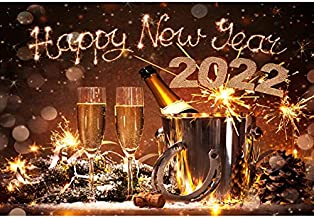 Leyiyi 5x3ft Happy New Year Backdrop Firework Champagne Glasses Horseshoes Metal Bucket Pine Nut 2022 Eve Winter Banquet Set Photography Background Merry Christmas Photo Studio Prop Vinyl Wallpaper