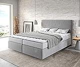 DELIFE Bett Dream-Well Mikrofaser Grau 160x200 cm mit Matratze und Topper