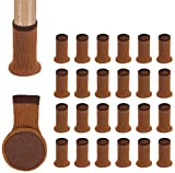 Chair Leg Socks,24PCS Knitted High Elastic Furniture Floor Protectors Pad,Non Slip & Anti-Noise Furniture Feet Caps Covers Set,Fit Girth 2.7' to 7', Coffee Brown (Brown)