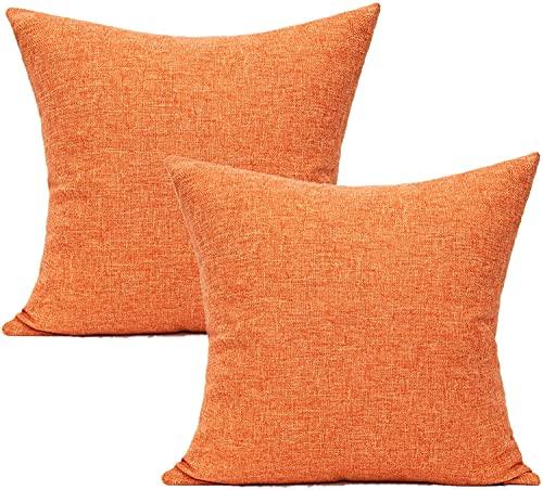 All Smiles Naranja Exterior Fundas de Cojín y Almohada Decorativas de Otoño para Exteriores para Hogar Muebles de Patio Cuadrado de Otoño Amarillo sólido para Porche Cama Sofá 2PC,45x45CM