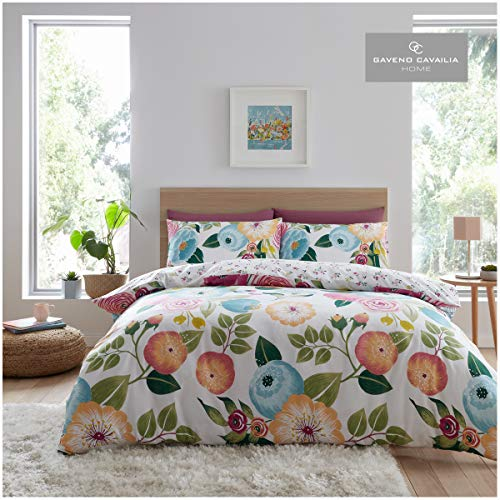 GAVENO CAVAILIA - Set copripiumino reversibile con motivo floreale, facile da pulire, in policotone, colore: Rosa Neve, King