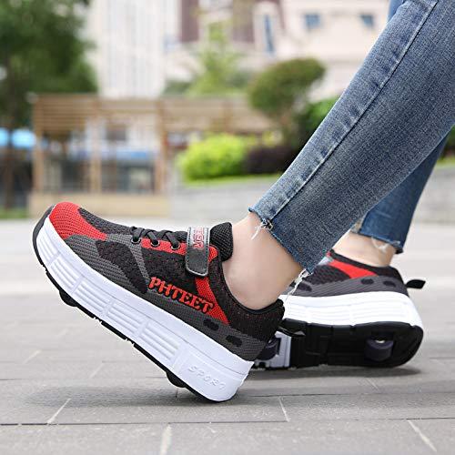 Zapatos de patinaje sobre ruedas para mujer, unisex de doble rueda, zapatillas de deporte brillantes con LED Zapatillas de deporte de velcro con carga, deformación gimnástica, zapatos de skate USB