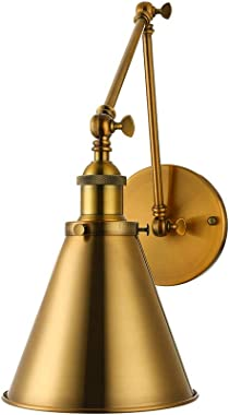 """Adjustable Brass Finish 1 Light Wall Sconce - LITFAD 7"""" Industrial Wall Lamp Mounted Lighting Fixture with Cone Shade Rot"""