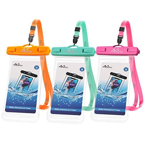 MoKo IPX8 Certificado Funda Móvil Impermeable, 3PZS Bolsa Protectora Universal Compatible con iPhone 12/12Mini/12ProMax, iPhone 11 Pro MAX/X/XR,Galaxy S21/S20 hasta 6.7', Naranja/Azul Cielo/Rojo Rosa