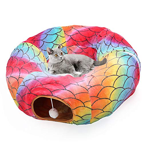 Large Cat Dog Tunnel Bed with Washable Cushion-Big Tube Playground Toys Plush 6 FT Diameter Longer Crinkle Collapsible 3 Way,Gift for Small Medium Kitten Puppy Rabbit Ferret Outdoor Rainbow Color
