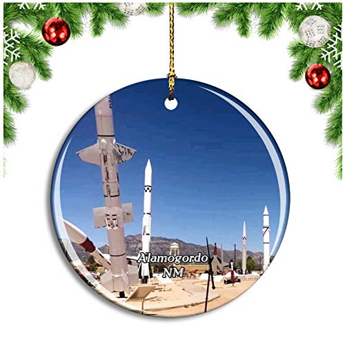 Alamogordo White Sands Missile Range Museum New Mexico USA Christmas Ornament Xmas Tree Decoration Hanging Pendant Travel Souvenir Collection Double Sided Porcelain 2.85 Inch