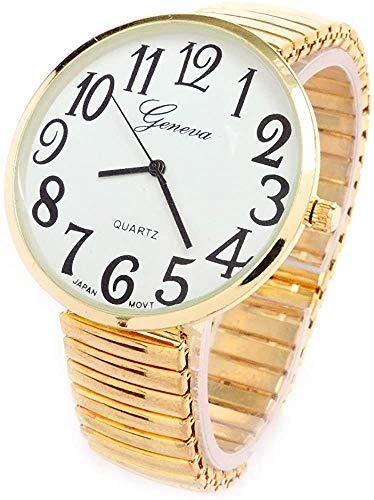 Reloj de pulsera dorado con correa elástica de tamaño muy grande