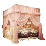 JQWUPUP Princess Bed Curtains Canopy, Lace Ruffle 4 Corner Post Mosquito Net for Bed, Bed Canopy for Girls Kids Toddlers Crib Adult, Bedding Décor (Queen, Peach)