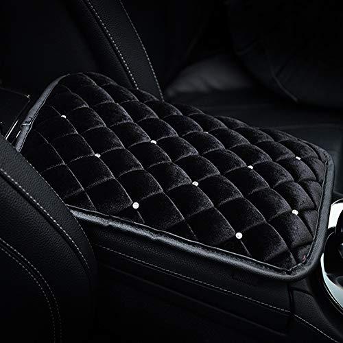 U&M Bling Bling Auto Armrest Console Cushion, Soft Plush Luster Crystal Arm Rest Padding Protective Case Diamond Car Decor Accessories for Women (Black-Plush)