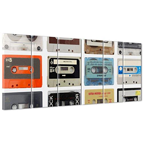 ConKrea Quadro su Tela Canvas - INTELAIATO - Pronto da Appendere - Audiocassette - Musica Vintage Design Music - 190x70cm (cod.1320)