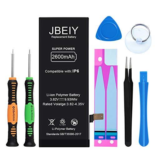 JBEIY Batteria per i-Phone 6, Nuova 2600mAh Alta Capacità Batterie di Ricambio, con Kit di Riparazione Professionale-1 anno Garanzia