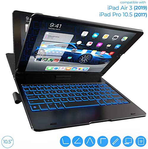 iPad Air 3 Case with Keyboard (10.5', 2019) - Backlit - 360 Rotatable - Wireless - iPad Air 3rd Generation - Keyboard Case - iPad Pro 10.5 Case with Keyboard
