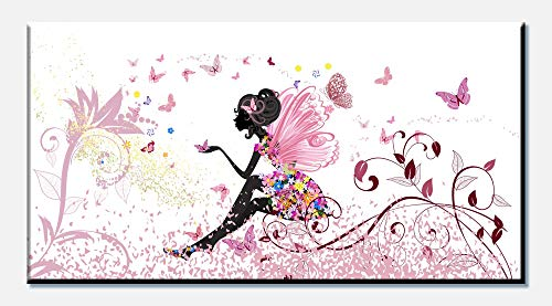 wandmotiv24 Leinwandbild Schmetterlingselfe 100x50cm (BxH) Panoramabild Foto-Leinwand Wandbild Foto-Geschenke Elfe Schmetterling Blumen Blüten M0438