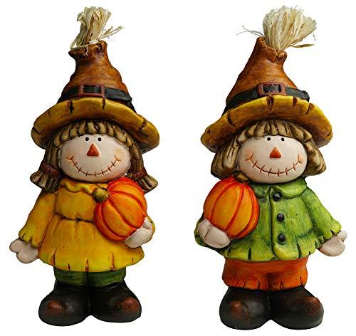 khevga Halloween Herbst Deko-Figuren Jack & Jacky mit Kürbis in der Hand 15cm