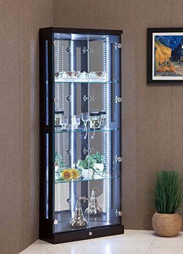 幅59cm 高さ150cm コーナー コレクションケース ブラウン 茶色 木目調 省エネ LED ライト付き 鍵付き ガラス 棚 鏡 完成品 大川家具 リビング 収納 コレクションボード フィギュアケース ディスプレイケース 22000026004-BR