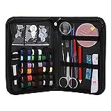 Agatige Kit de Costura para Adultos y niños, Agujas de Hilo Multicolor, Tijeras, Clips para dedales para el hogar, Viajes y reparación de emergencias(Negro)