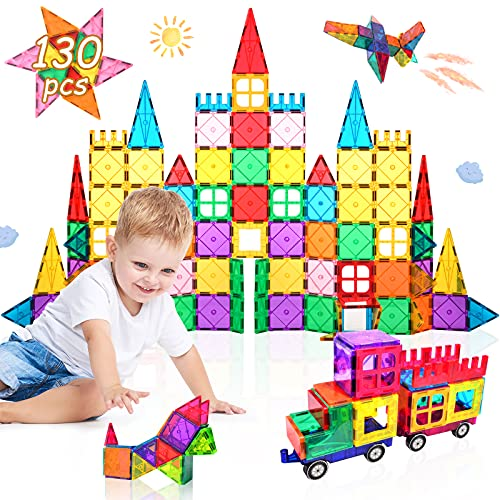Lati 130 pcs Magnetic Tiles, Magnet Building Blocks for Kids STEM Construction Set Clear Imagination Inspirational Educational Magnetic Toys for 3 4 5 6 7 Years Old Boys Girls Gifts with 2 Cars