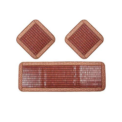 Ecloud Shop® Bambus Cool Sitzkissen Mat Set,Quadratische Stuhlkissen und Rücksitzmatte Natürliche erfrischende atmungsaktive Kühlmatte für den Sommer - Geeignet für Autositze, Sofas und Bürostühle