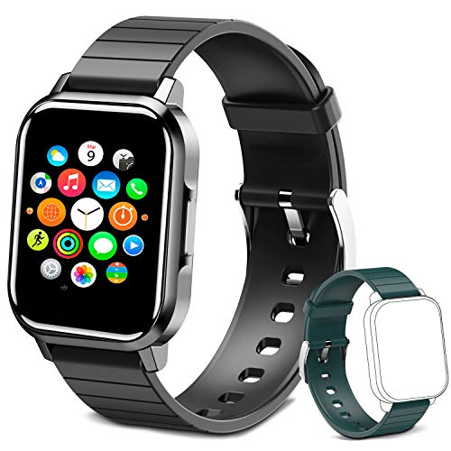 Smart Watch for Men Women, 1.4' Touch Screen Activity Tracker Smartwatch with All-Day Heart Rate Monitor IP68 Fitness Tracker, for iOS and Android Phones (Black)