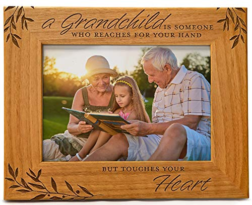 A Grandchild is Someone Who Reaches For Your Hand But Touches Your Heart, Engraved Natural Wood Photo Frame Fits 5x7 Horizontal Portrait for Grandparents, Grandparent
