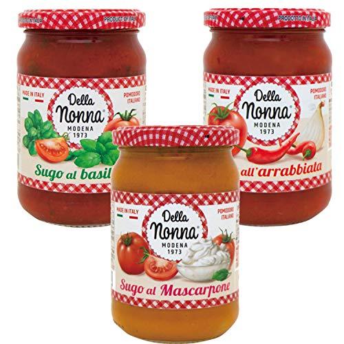【デラノンナ】パスタソース3種セット トマト&バジル・トマト&マスカルポーネ・アラビアータ(イタリア産トマト使用・イタリア直輸入)