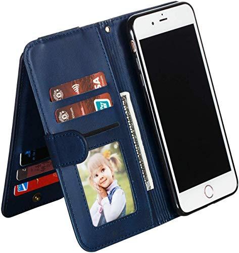 Ysimee Hülle kompatibel mit Samsung Galaxy S8 Plus mit 9 Kartenslots, Stylish Case Schutzhülle Klappbar Stoßfest Kratzfest Hülle Flip Handy Tache mit Standfunktion und Magnetverschluß, Dunkelblau