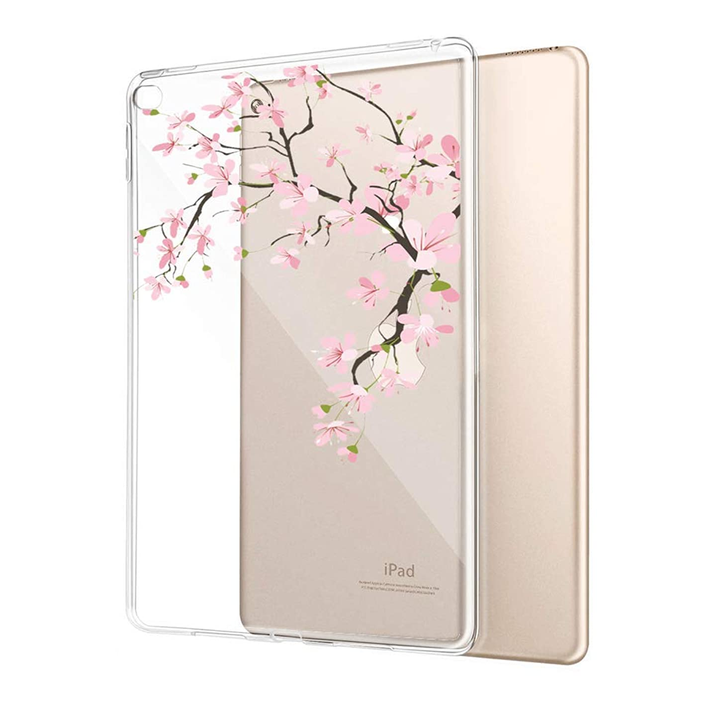 Case for iPad Air 2 Cherry Blossom Clear Case Shockproof Flexible Slim Soft Durable Rubber TPU Ultra-Clear Silicone Protective Case for iPad Air 2