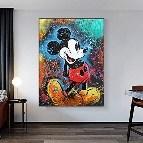 WIOIW Moderno Graffiti Art Ink Splash Cartoon Cute Mic-Key Mouse Comics Animal Canvas Painting Wall Art Poster Prints Kids Nursery Dormitorio Sala de Estar Decoración del hogar