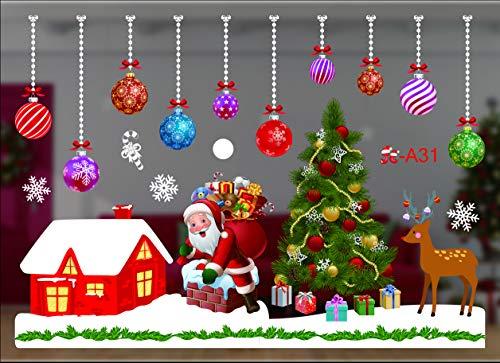 Fensterbild Weihnachten, Wunderschöne Fensteraufkleber, Wiederverwendbare Selbstklebend Weihnachtssticker, deko Weihnachten Fensterdeko, Fensterbilder für Türen Schaufenster Vitrinen Glasfronten