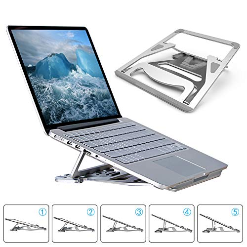 Portable Laptop Stand Foldable - Pccooler Aviation Aluminum Alloy Laptop Holder Desk Stand, Ventilated 5 Angle Adjustable Laptop Stand for MacBook Pro/Air, Dell, HP, Gateway, ASUS, 9-17.3� Laptops