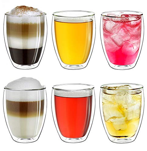 """Creano doppelwandige Gläser 250ml """"DG-Hoch"""", 6er Set, großes Thermoglas doppelwandig aus Borosilikatglas, Kaffeegläser, Teegläser, Latte Macchiato Gläser"""