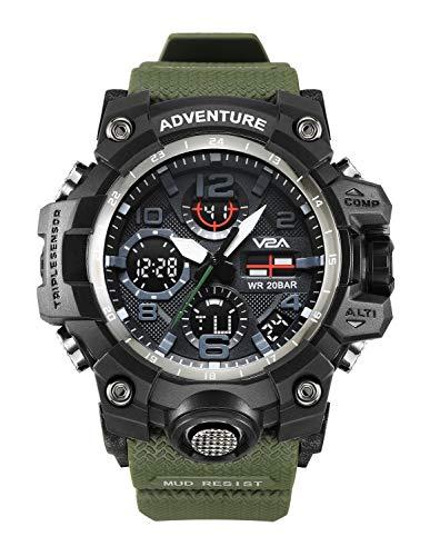 V2A Analog-Digital Men's Watch (Green Colored Strap)
