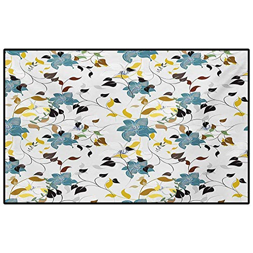 Leaf Bedroom Rugs Patio Rug Rug pad Seasonal Flowers with Colorful Leaves Poison Ivy Plant in Contemporary Design Print for Living Room and Bedroom Multicolor 6.5 x 8 Ft