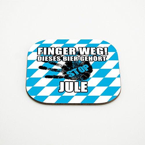 Untersetzer für Gläser mit Namen Jule und schönem Motiv - Finger weg! Dieses Bier gehört Jule