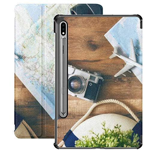 Galaxy Tablet S7 Plus Custodia da 12,4 pollici 2020 con supporto per penna S, Go On Adventure Map Camera Custodia protettiva in legno con supporto sottile per Samsung