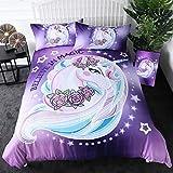 Sleepwish Unicorn Bed Set 3D Purple Aqua Unicorn Bedding Set for Girls Twin Size Kids Rose Unicorn Flower Duvet Cover 3 Piece Dreamy Cartoon Sparkle Lilac Unicorn Bedspread