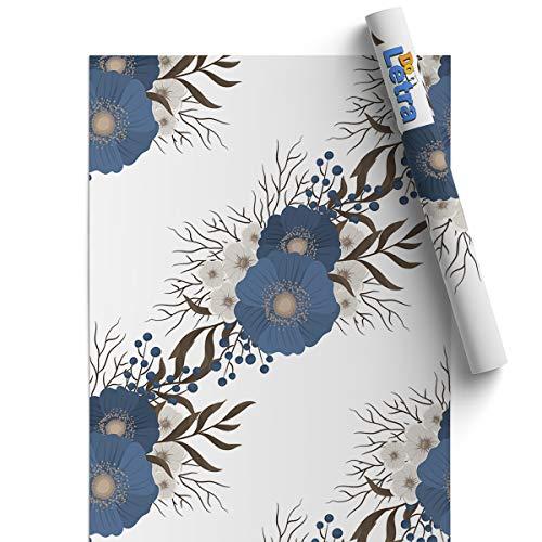 Papel Adhesivo para Muebles - Vinilos para Mubles - Flores Azules - 45x200cm - Resistente, Impermeable y Removible - Pegatina Decorativa para Hogar, Cocina, Baño, Oficina, etc