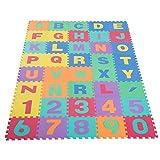HOMCOM Alfombra Puzzle Infantil 40 Piezas de 31x31x1cm Juego Rompecabezas con 29 Letras Acento y Números 0 al 9 Colchoneta Suave para Niños 3,6 m² Espuma EVA