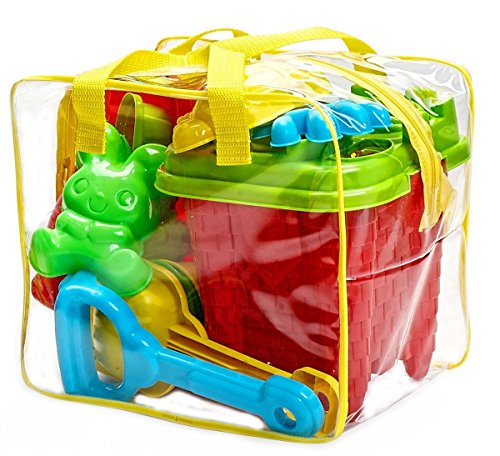 Bo-Toys 15-Pieces Beach Sand Toys Set in Zippered Bag Castle Bucket