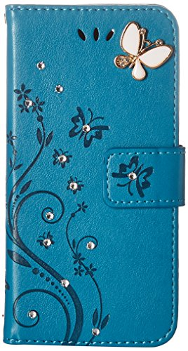 Auroralove iPhone 6 Plus/6s Plus Luxury Handmade Bling Rhinestone Soft Slim Flip Stand Wallet Case for iPhone 6 Plus/6s Plus 5.5 Flower Butterfly PU Leather Case for Girls Women-Blue