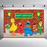 TJ Sesame Street Brick Wall Photography Backdrops Boy Girl Birthday Party Theme Photo Booth Background Baby Shower Banner Decoration Supplies Vinyl 7x5FT