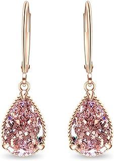 Aretes de Oro rosa para Mujer - Pendientes Colgantes Cristal