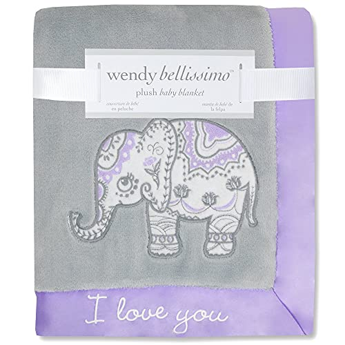 Wendy Bellissimo Super Soft Plush Baby Blanket - Elephant Baby Blanket from The Anya Collection in Lavender and Grey (30x40)