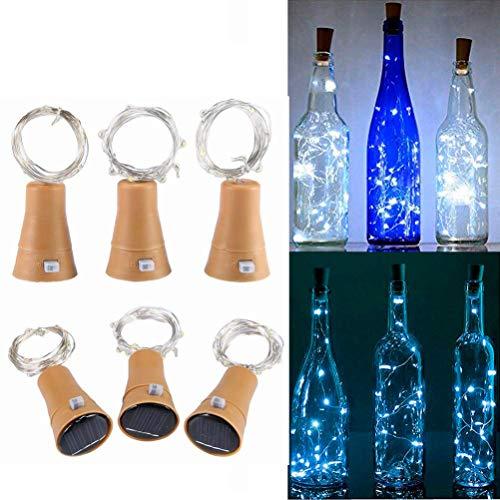 6 Pack Luz de Botella, Luces de Energía Solar para Botellas de Vino, 1m 10LEDs Luces de Cadena con Alambre de Cobre para Bodas Románticas, Fiesta, Hogar, Exterior, Jardín, Blanco(Blanco)