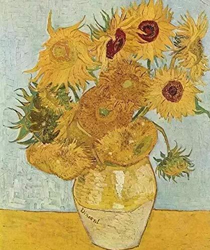 Ivansung Van Goghs Sonnenblume DIY Malen nach Zahlen für Erwachsene, Malen nach Zahlen Kit auf Leinwand für Anfänger, Neue Maler, Geschenkpaket 40X50Cm/15.8X19.7Inch