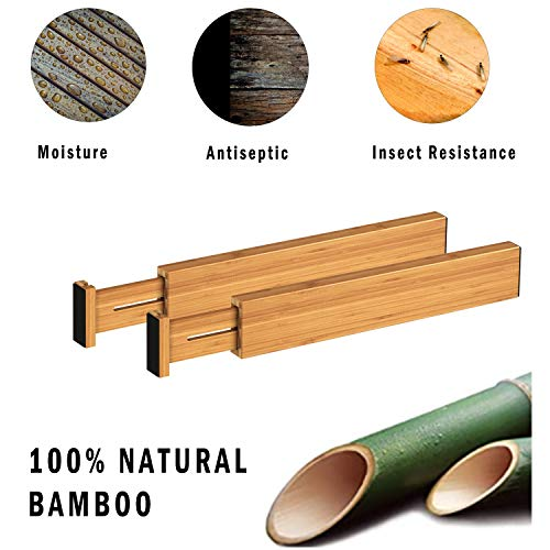 BAMEOS Drawer Dividers Bamboo Separators Organization Expandable Organizers for Kitchen Bedroom Bathroom Dresser Office 4-pack ( 17.5 - 22 inch )