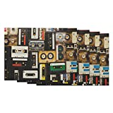 Moslion Music Place Mats 12x18 Inch Set of 4 Vintage Audio Record Cassette Tapes Table Placemats Cotton Linen for Dining Room Kitchen Home Decor Black Beige