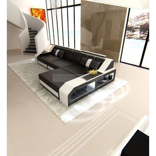 Sofa Dreams Ledercouch Arezzo L-Form schwarz - weiss Eckcouch Designersofa